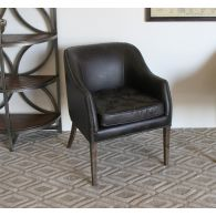 Dark Brown Leather Arm Chair with Nailhead Trim