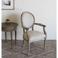 Natural Linen Louis Round Arm Chair