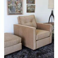 Caramel Tufted Velvet Club Chair