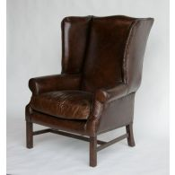 Cigar Leather Wing Chair