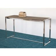 Reclaimed Wood and Stainless Steel Console