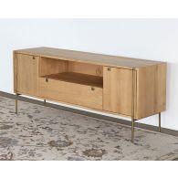 Danish Modern Natural Oak Media Console With Brass