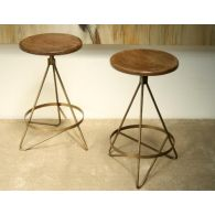 Reclaimed Wood and Vintage Brass Counter Stool