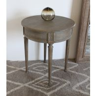 Weathered Oak Round Side Table