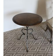 Oak Round Accent End Table
