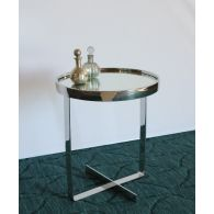 Small Round Chrome End Table with Mirror Top