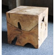 Natural Teak Cube Side Table