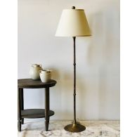 Vintage Brass Floor Lamp with Gold Silk Shade