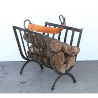 Iron Band Log Holder with Leather Handle