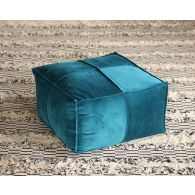 Square Pouf Ottoman in Teal
