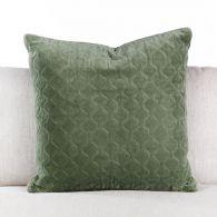 Moss Quilted Velvet Pillow