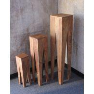 Set of 3 Natural Sheesham Wood Nesting Tables