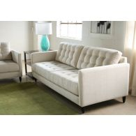 Tufted Vanilla James Sofa with Walnut Legs