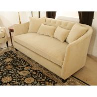 Curved Blond Velvet Sofa with Tufted Back and Toss Pillows