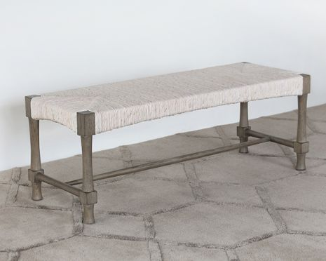 Palma Bench In Rustic Gray Finish
