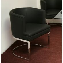 Black Leatherette and Polished Stainless Steel Barrel Back Arm Chair