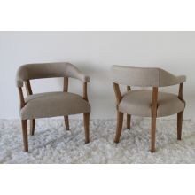 Natural Linen Arm Chair with Oak Frame