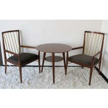 Walnut and Brass Spindle Back Arm Chair