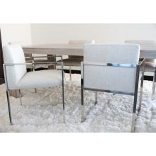 Oatmeal Linen Arm Chair with Stainless Steel Frame