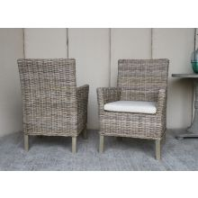 Rattan Arm Chair With Off-White Cushion