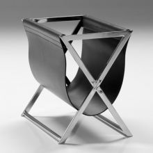 Black Leather and Stainless Steel Magazine Holder