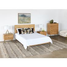 Danish Modern Natural Oak Queen Bed With Brass Legs