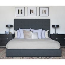 Tufted Tweed King Size Bed In Olive