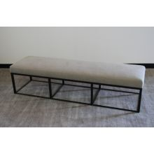Black Metal Bench with Washed Natural Burlap Upholstery