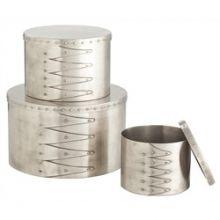 Set of 3 Iron Shaker Style Round Nesting Boxes