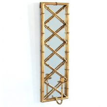 Antiqued Gold Bamboo Mirrored Candle Sconce (Pair)
