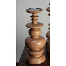 Medium Sculpted Blonde Wood Pillar Candle Holder