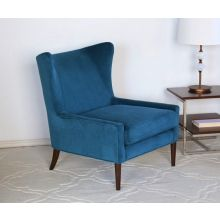Blue Marlow Modern Wing Chair