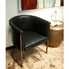 Antique Brass Chair with Black Leather Upholstery