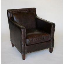 Cigar Leather Club Chair with Nailhead Trim