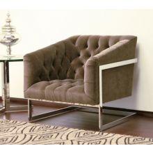Taupe Velvet Tufted Chair with Chrome Frame