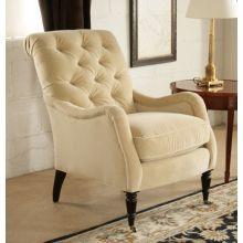 Blond Velvet Tufted Club Chair