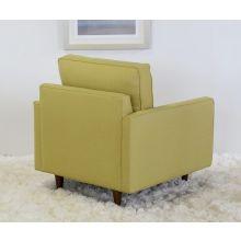 Modern Fern Club Chair with Tapered Walnut Legs