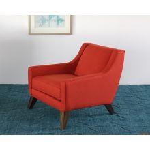 Tightback Rust Club Chair with Splayed Walnut Legs