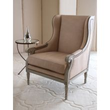 Oly Duncan Chair in Dove Leather Upholstery