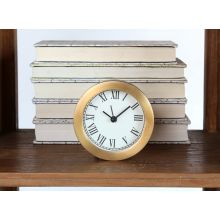 Antiqued Brass Ribbed Clock