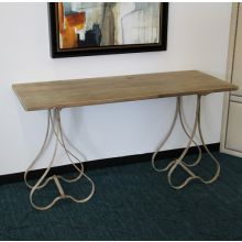 Rustic Whitewashed Console with Bulb Legs