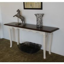 White Scalloped Console with Wood Top