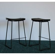 Lucia Counter Stool With Black Leather Cushion