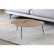 Low White Oak Coffee Table with Forged Steel Legs