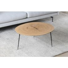Tall White Oak Coffee Table with Forged Steel Legs
