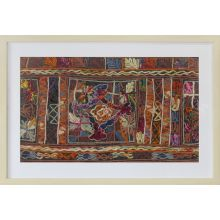Burgundy Embroidery 2 32W X 22H - Cleared Decor ***FRAME IS A DARK WOOD***