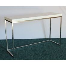 High Gloss White Desk with Stainless Steel Base