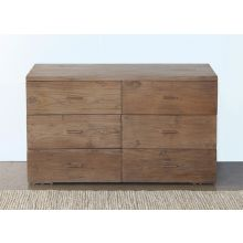 Reclaimed Teak Modern 6 Drawer Dresser