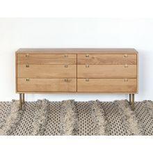 Danish Modern Style Natural Oak 6 Drawer Dresser