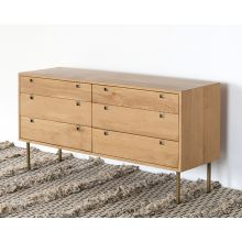 Danish Modern Style Natural Oak 6 Drawer Dresser